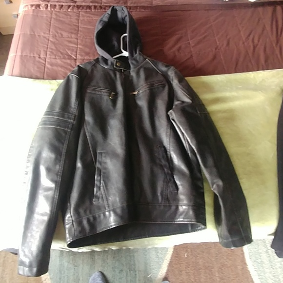Structure Mens Hooded Faux Leather Bomber Jacket